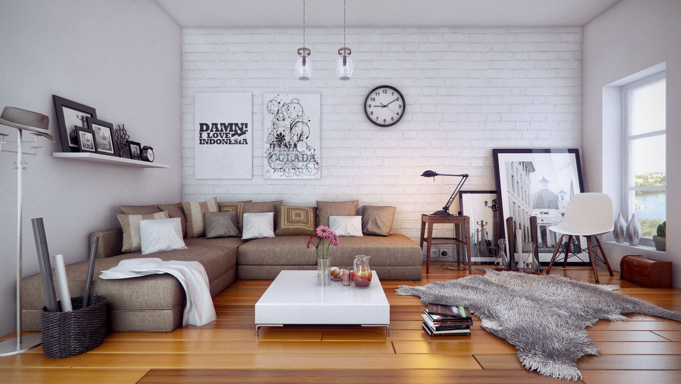 white spacious living room
