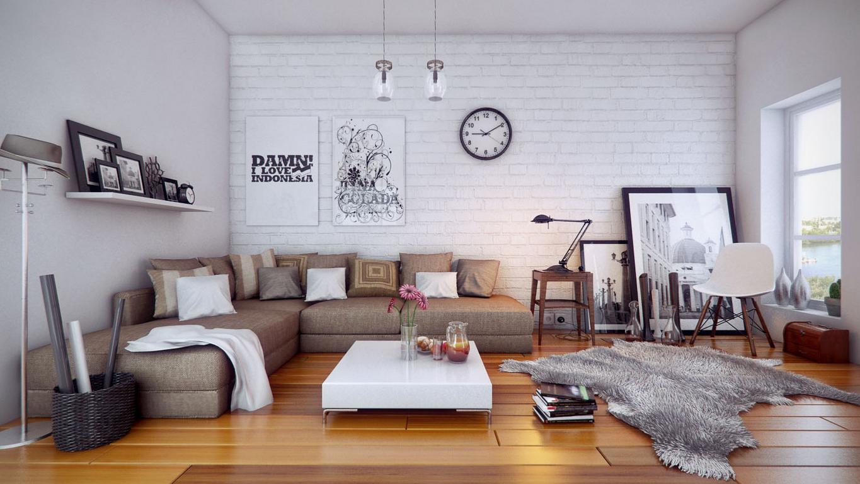 White Spacious Living Room