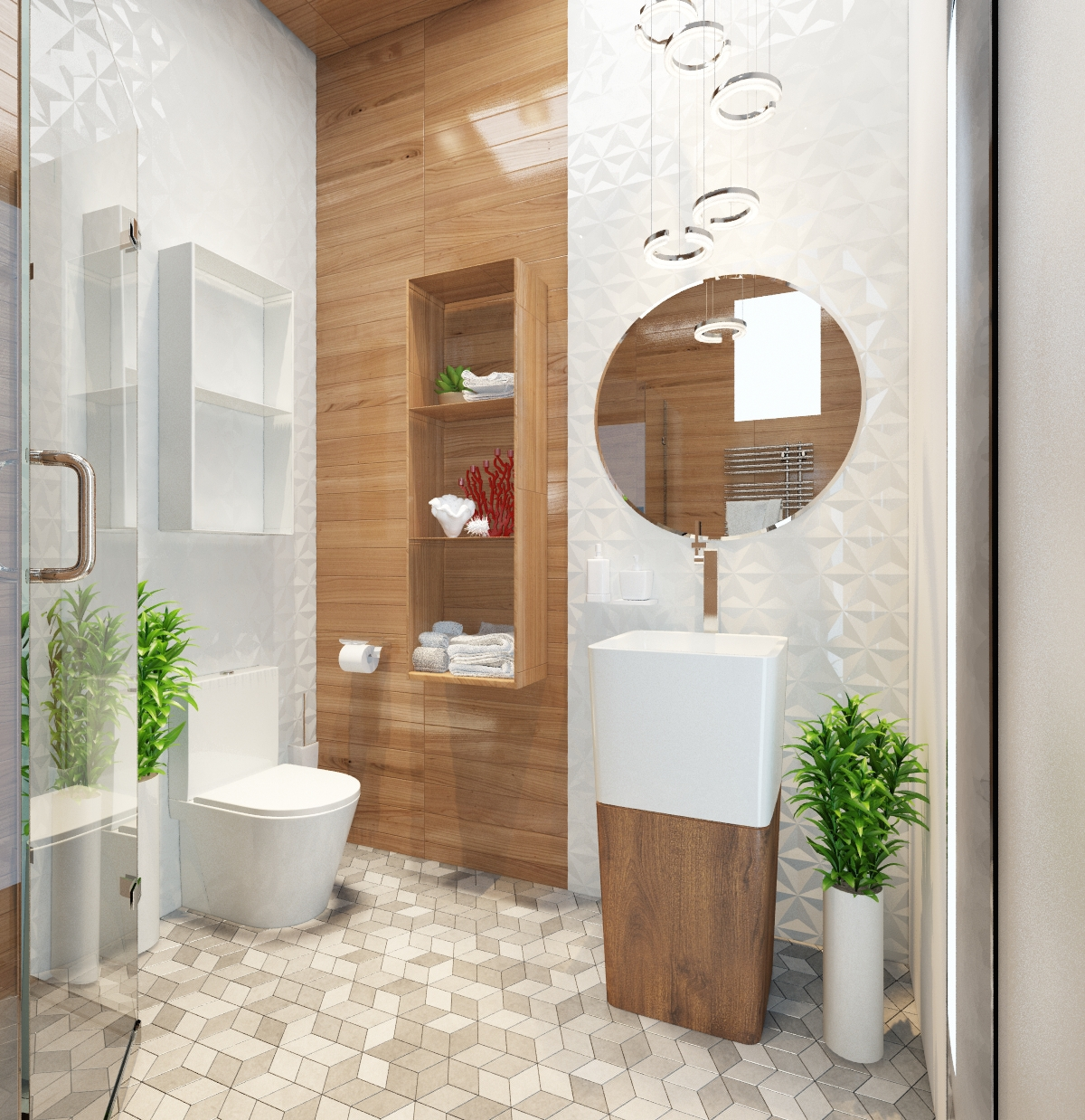 Small Minimalist Bathroom Designs Decorated With Variety Of Modern Pattern Tile Designs Looks
