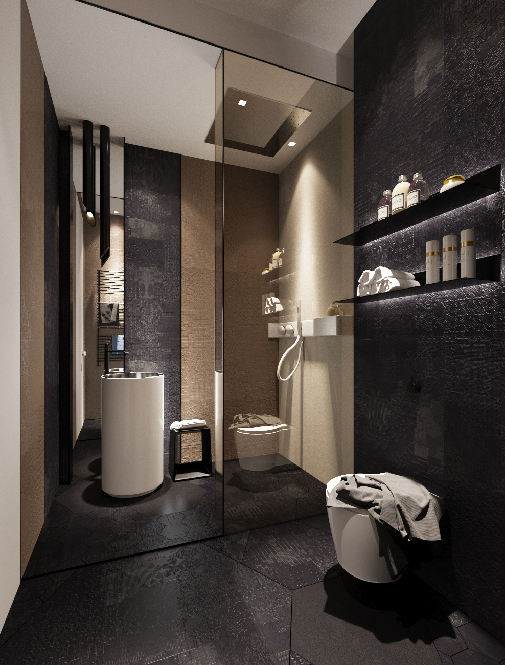 modern dark bathroom backsplash
