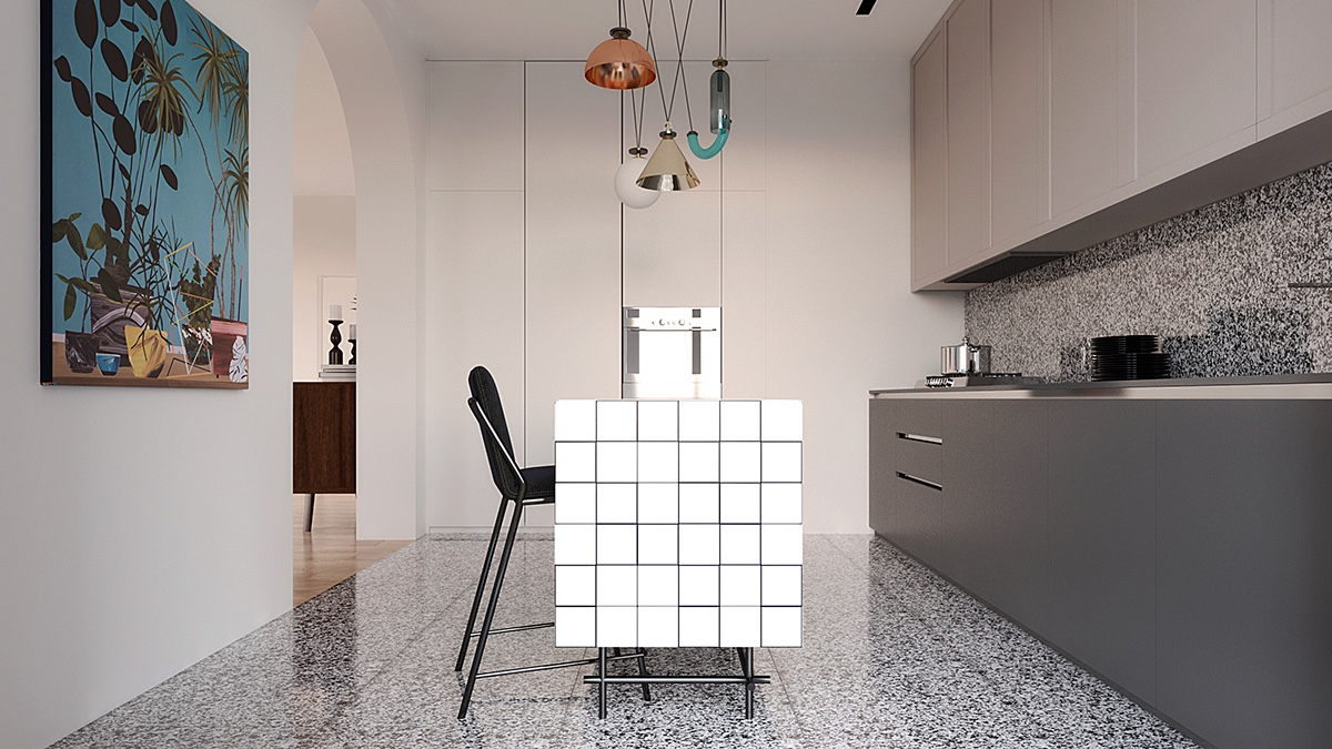 white geometry kitchen design ideas