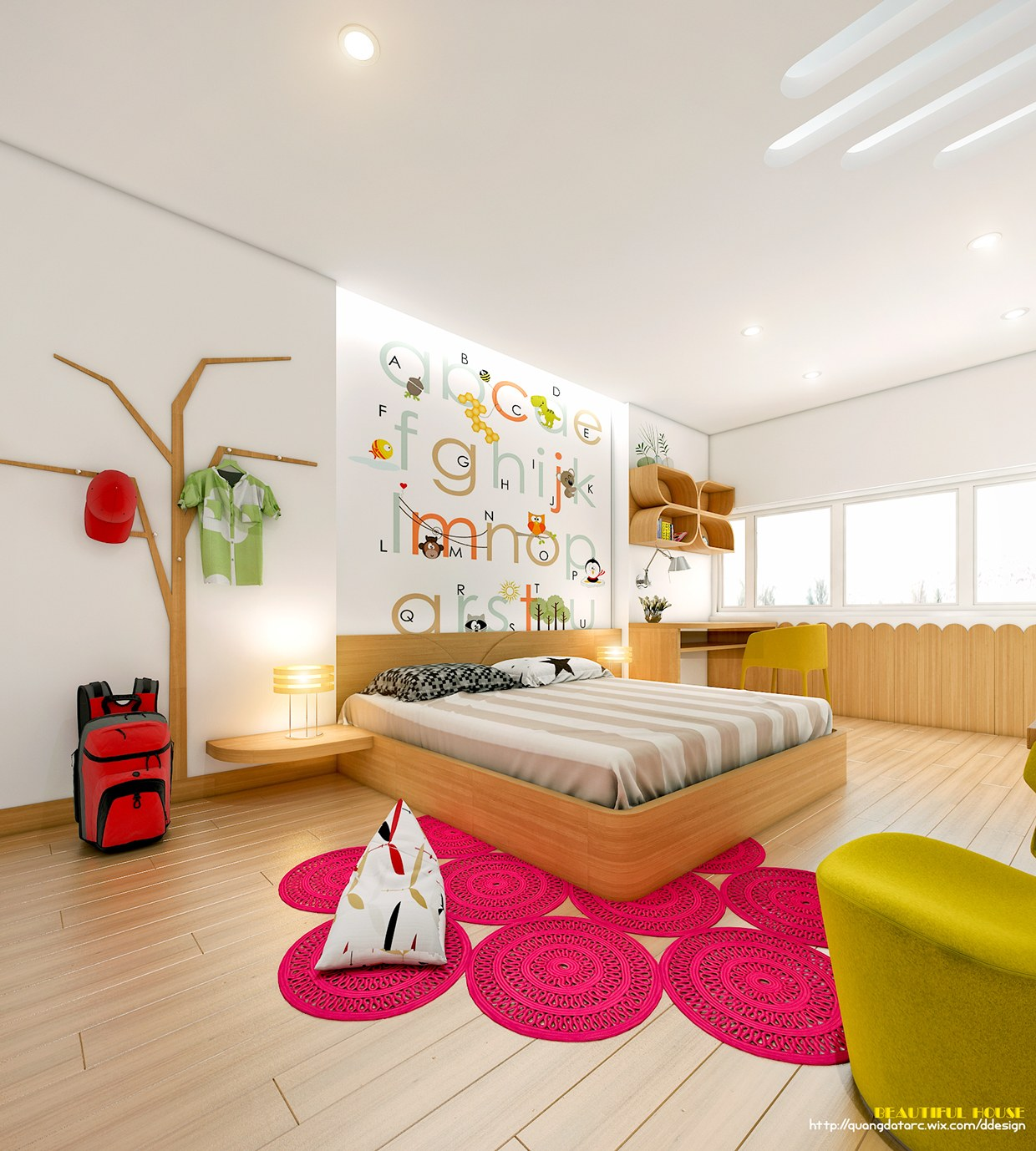 cheerful teen room design