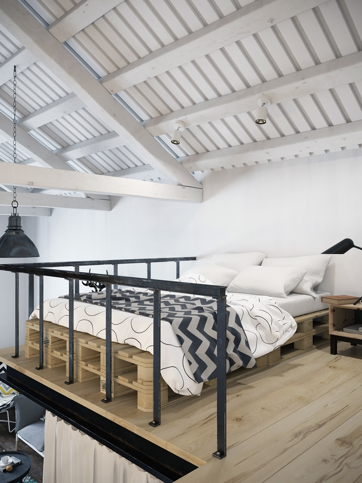scandinavian white loft design