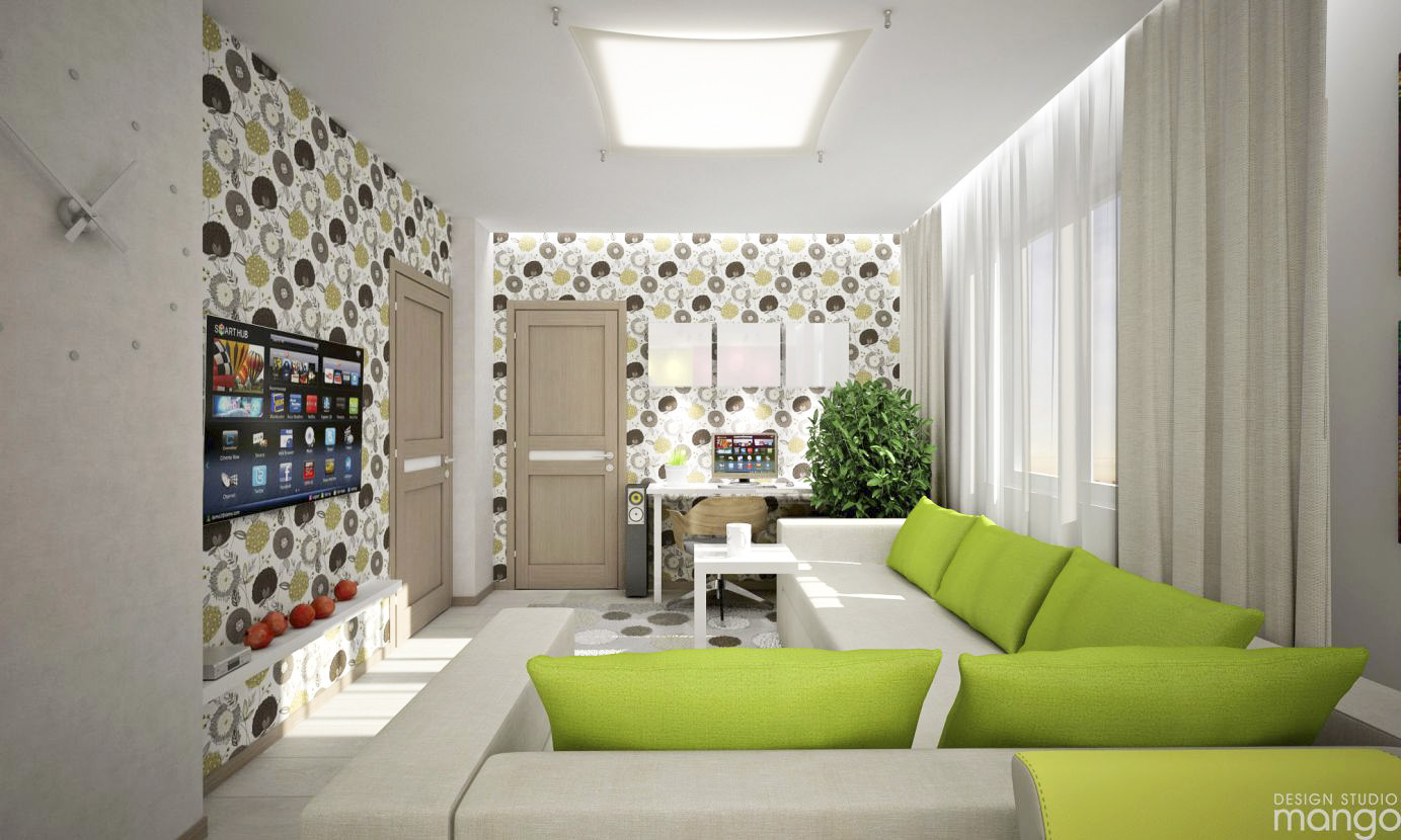 green accent living room design