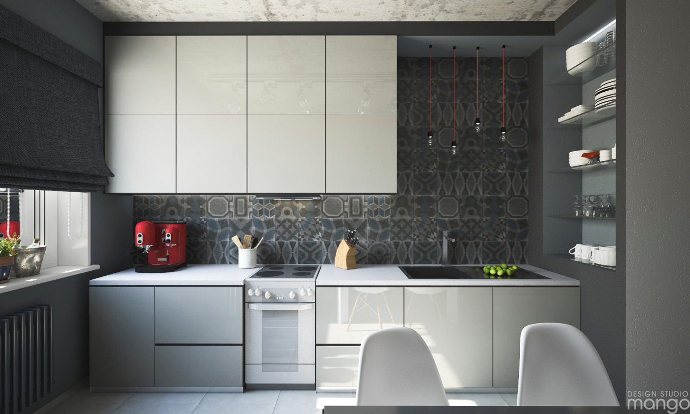 black floral tile backsplash
