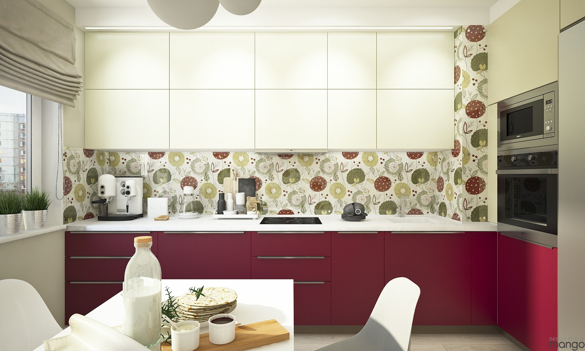 floral kitchen backsplash design