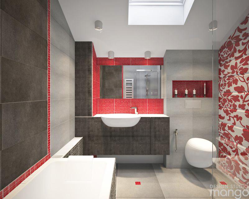 red tile bathroom backsplash design