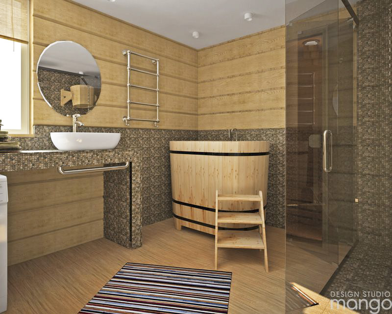 wooden bathroom tile decor
