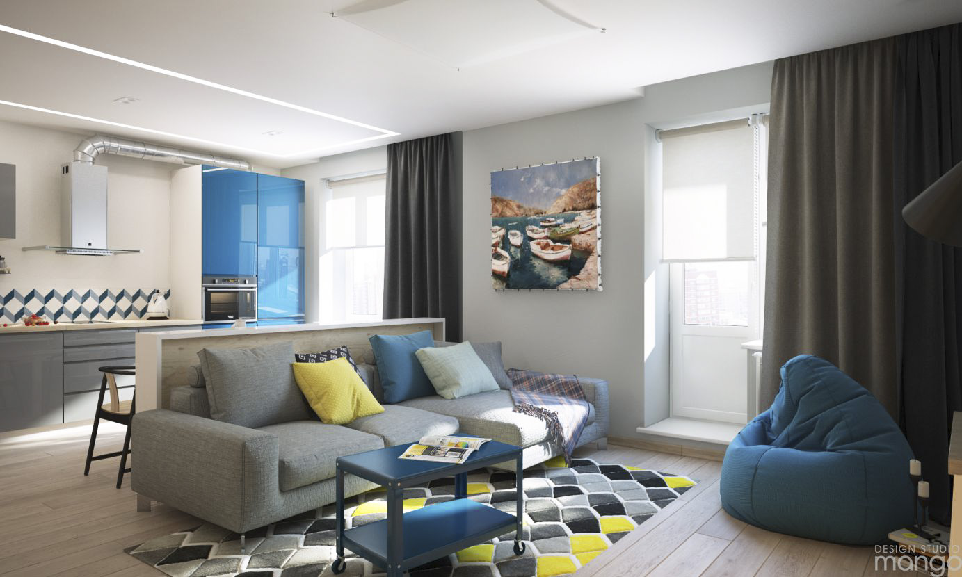 Applying a modern small home design which use blue color for Modern home decor accents