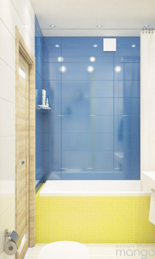 blue accent minimalist bathroom design