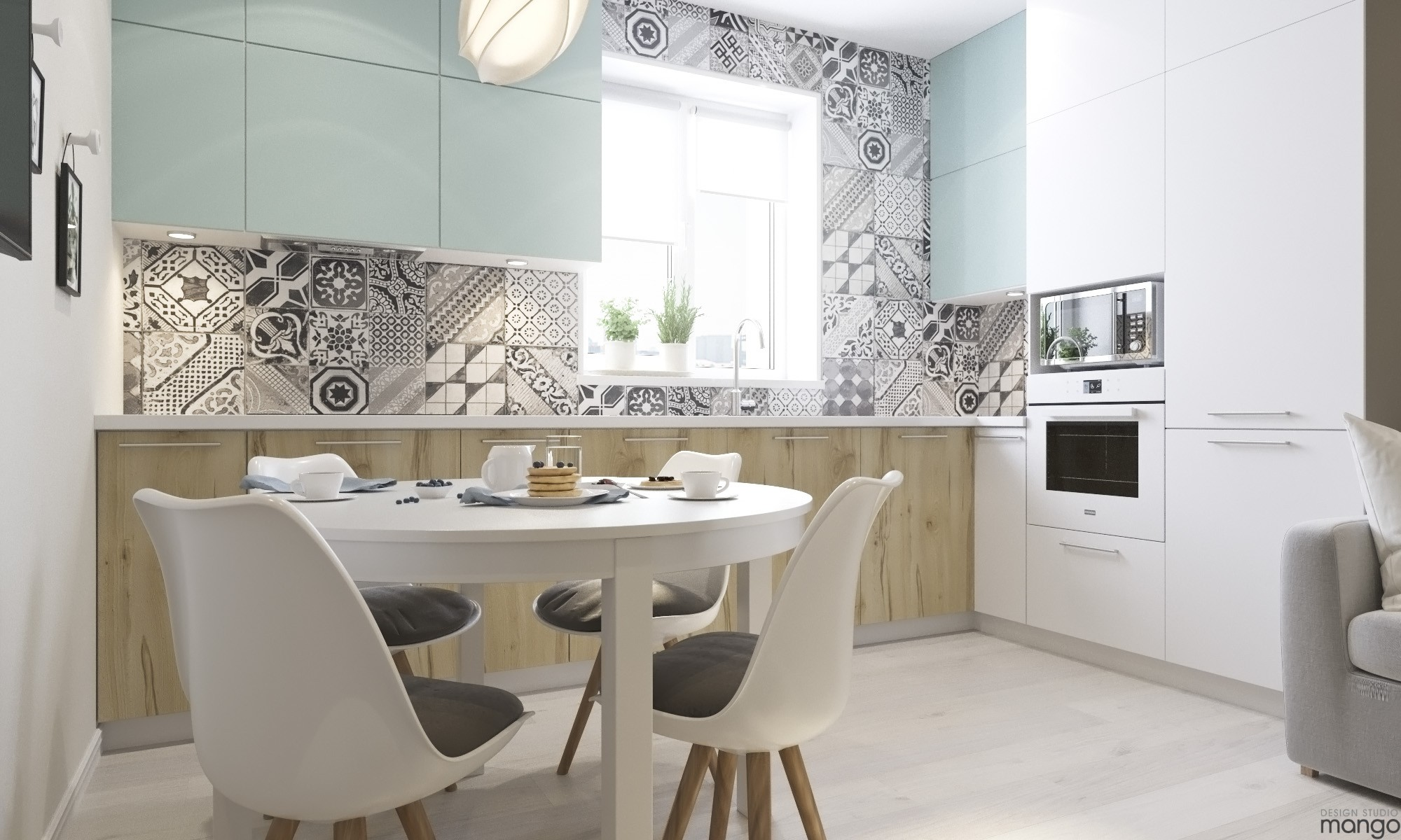 cute floral kitchen backsplash