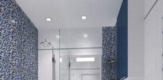 minimalist blue bathroom tile design