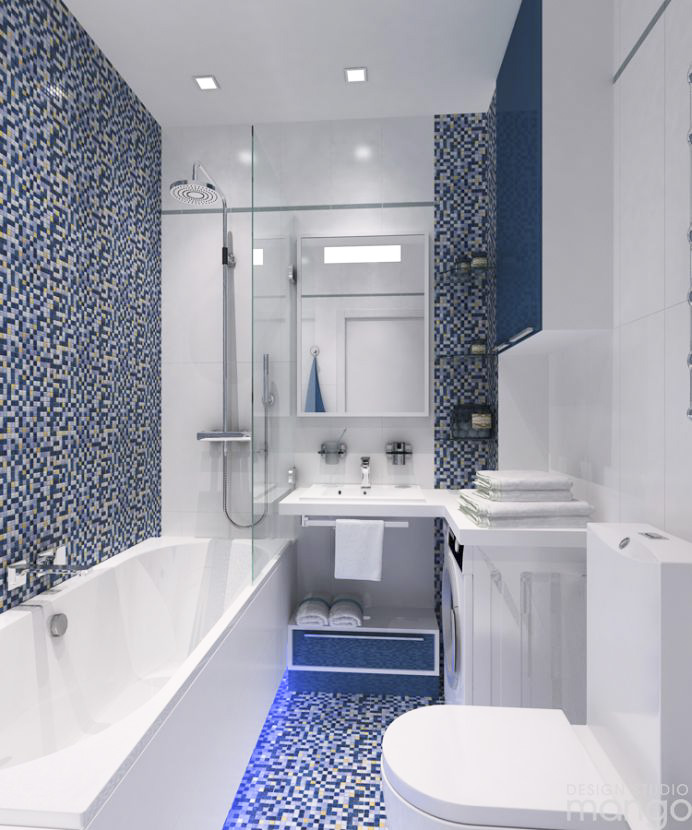 minimalist blue bathroom tile design