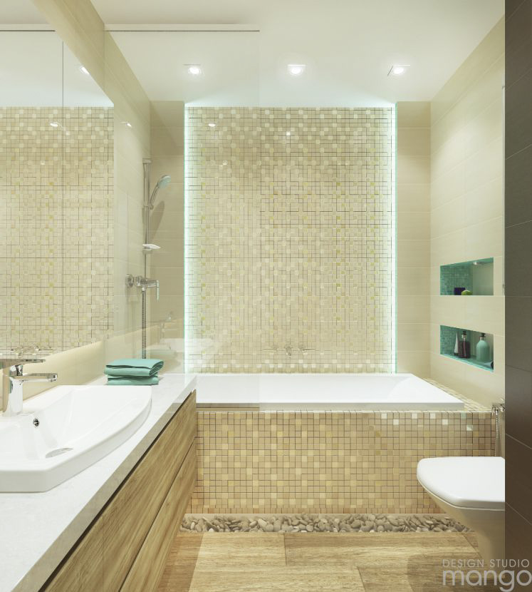 cream tile bathroom design