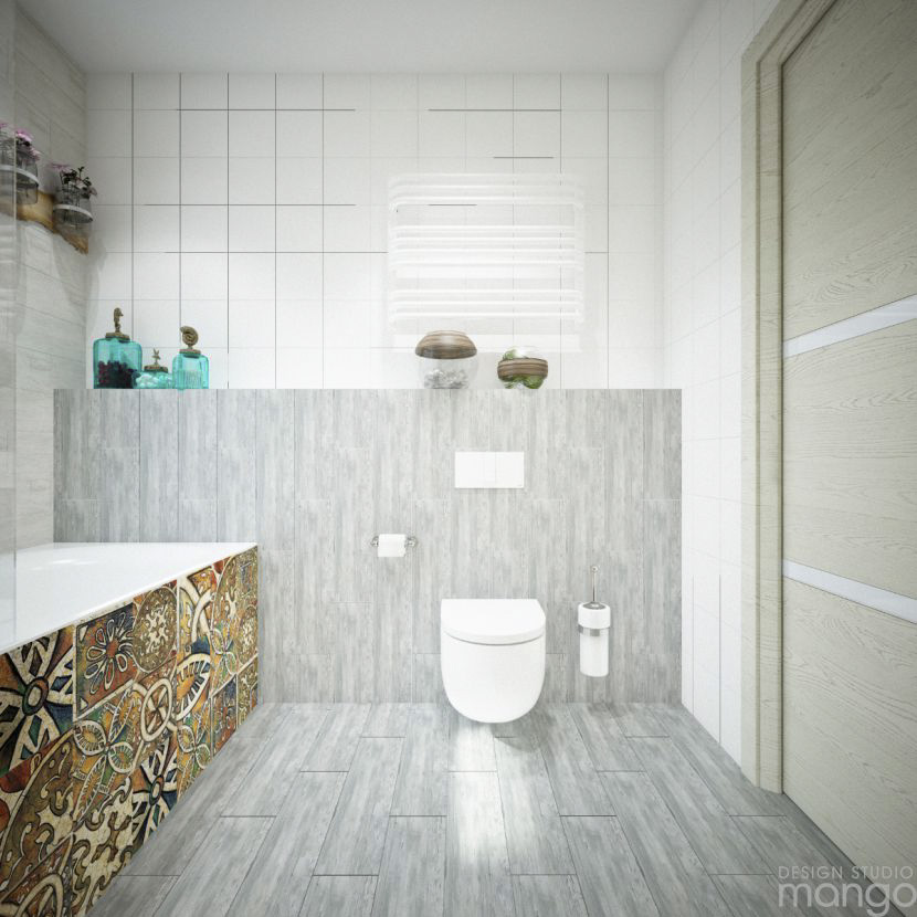 gray tile bathroom design