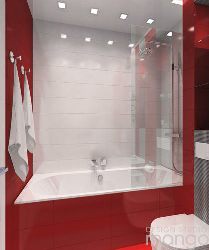 modern red bathroom decor