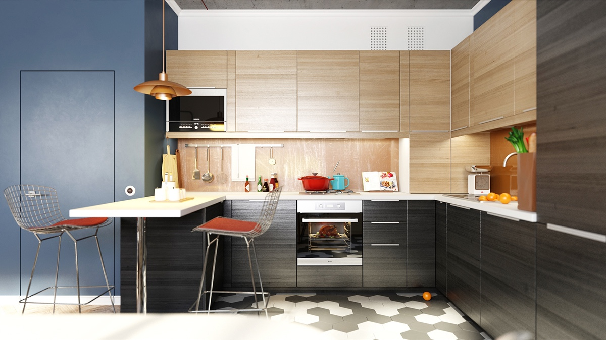 Minimalist kitchen designs decorated with a wooden accent for Kitchen set hitam