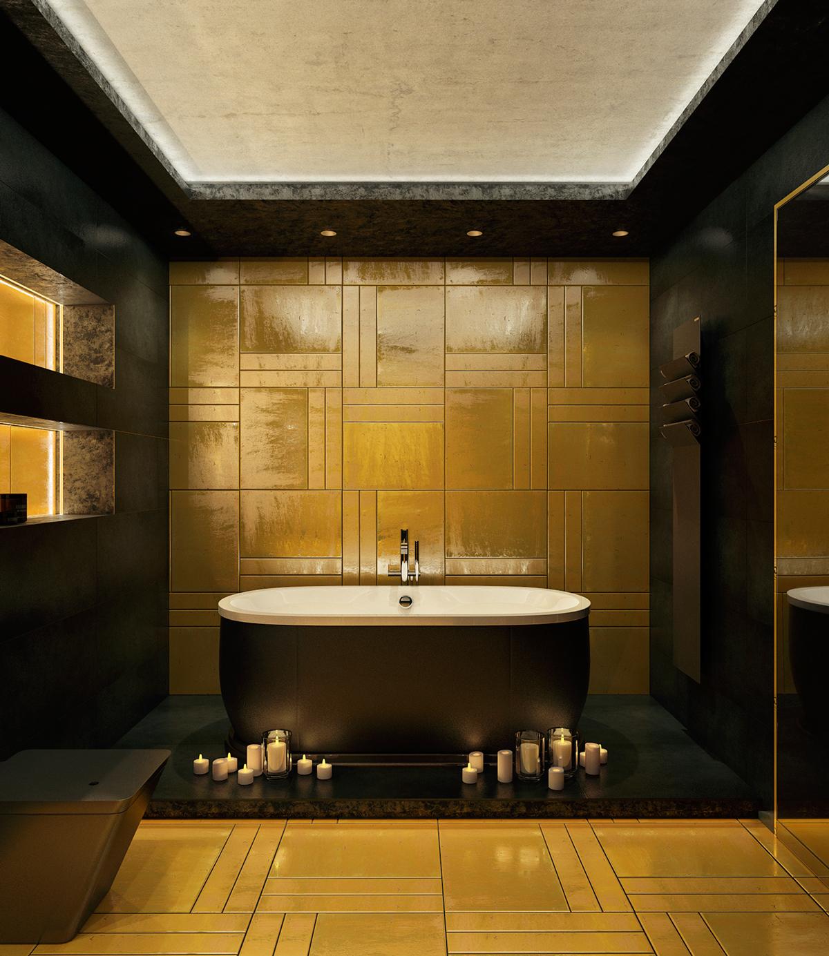 yellow accent bathroom design