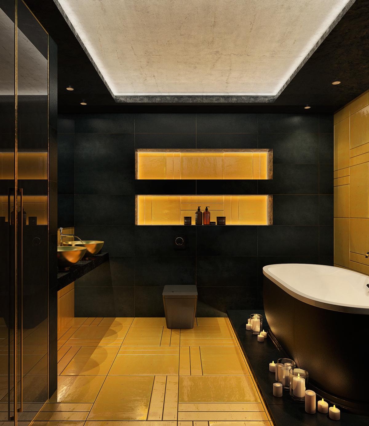 yellow and black masculine bathroom