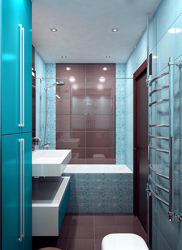 blue bathroom backsplash decor