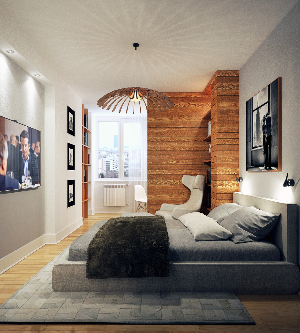white color minimalist bedroom design