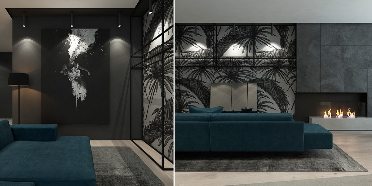 dark living room design