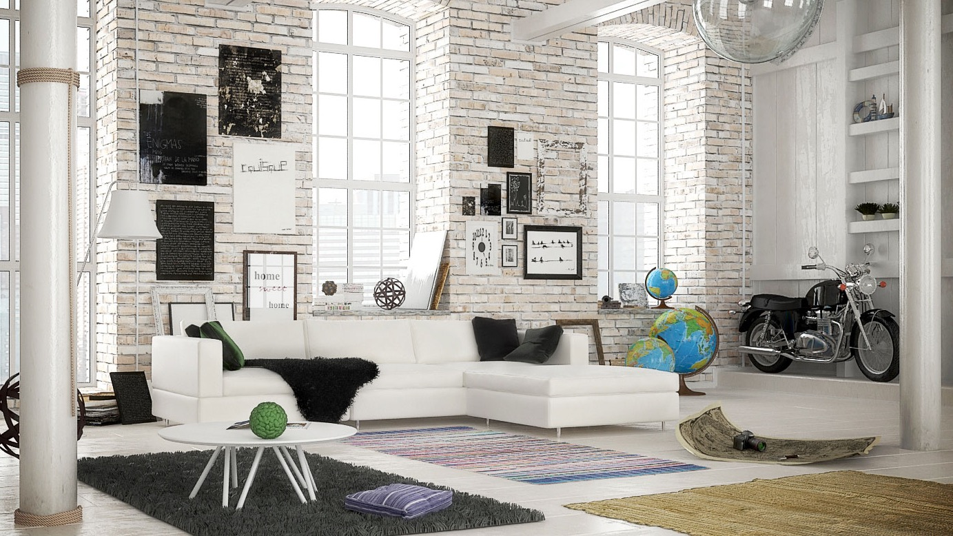 white brick scandinavian living room