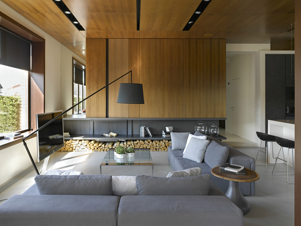 Modern Home Design Exposed a Wooden Wall Decor and Combined With a