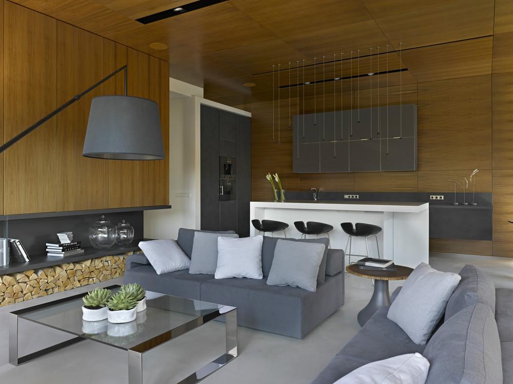 modern wooden living room decor