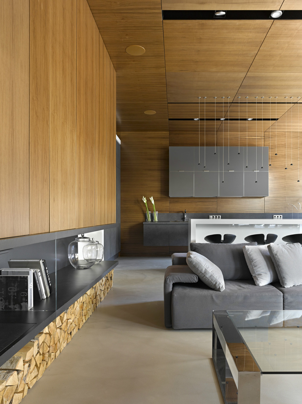 gray and wooden living room design