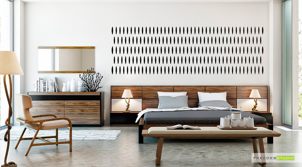 white bedroom with wall texture design