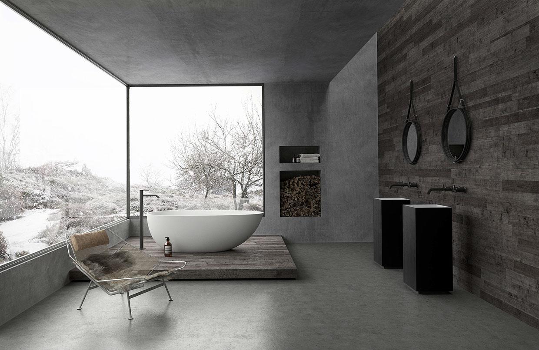 Modern bathroom decorating ideas combined with backsplash for Modern bathroom looks