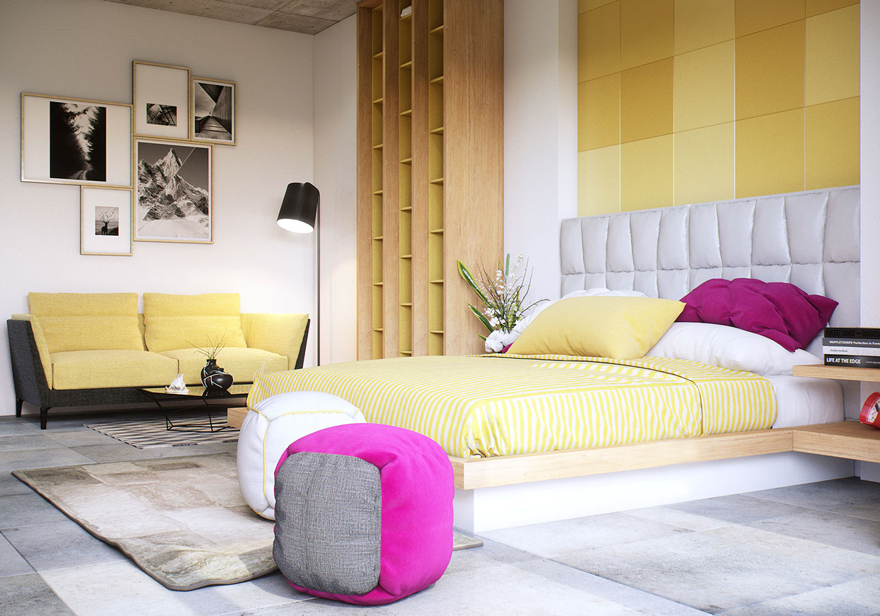 yellow accent bedroom design