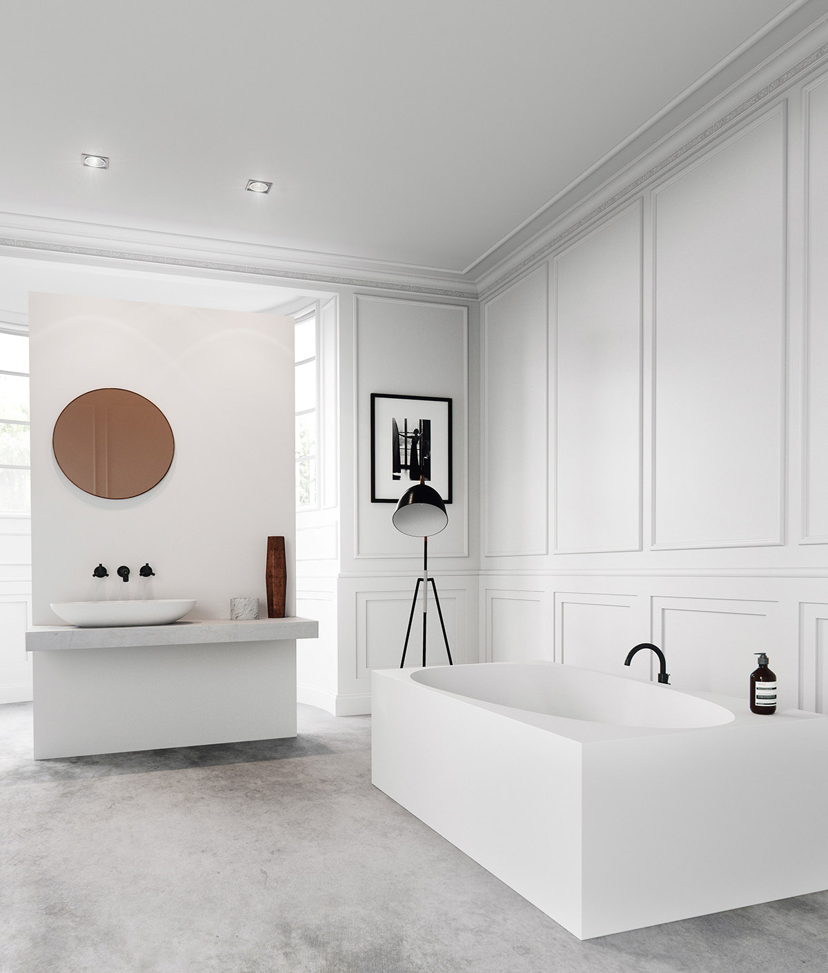 white modern small bathroom design