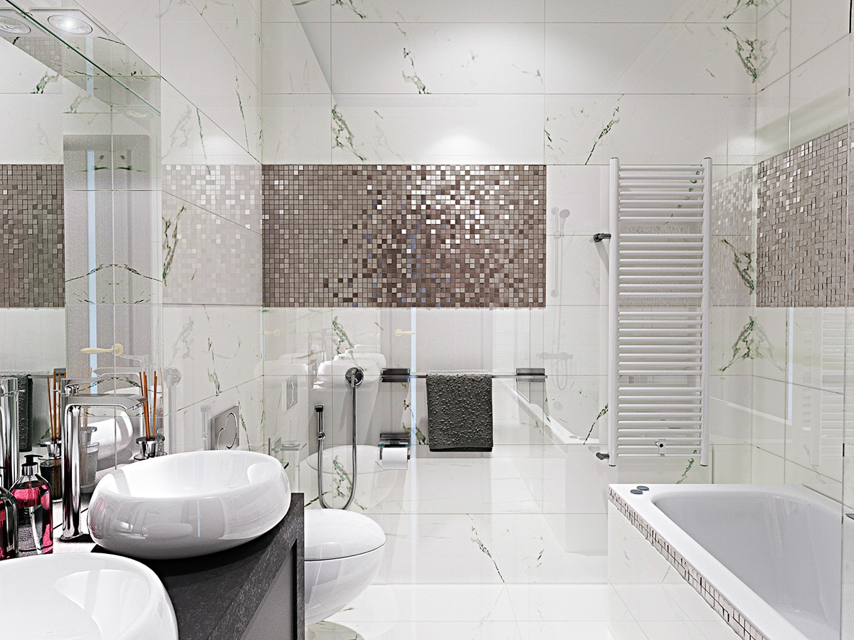 Contemporary Bathroom Designs Exposed Gray and White Color ...