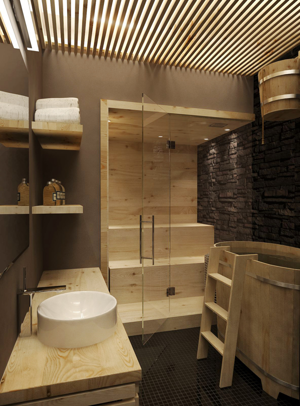 minimalist wooden bathroom