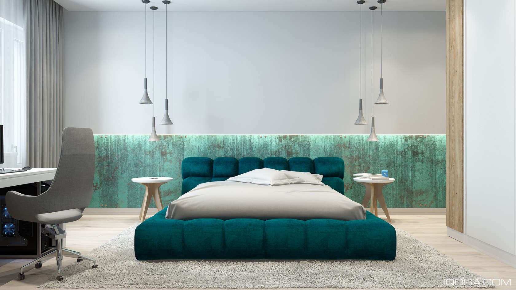 Teal And Marble Bedroom