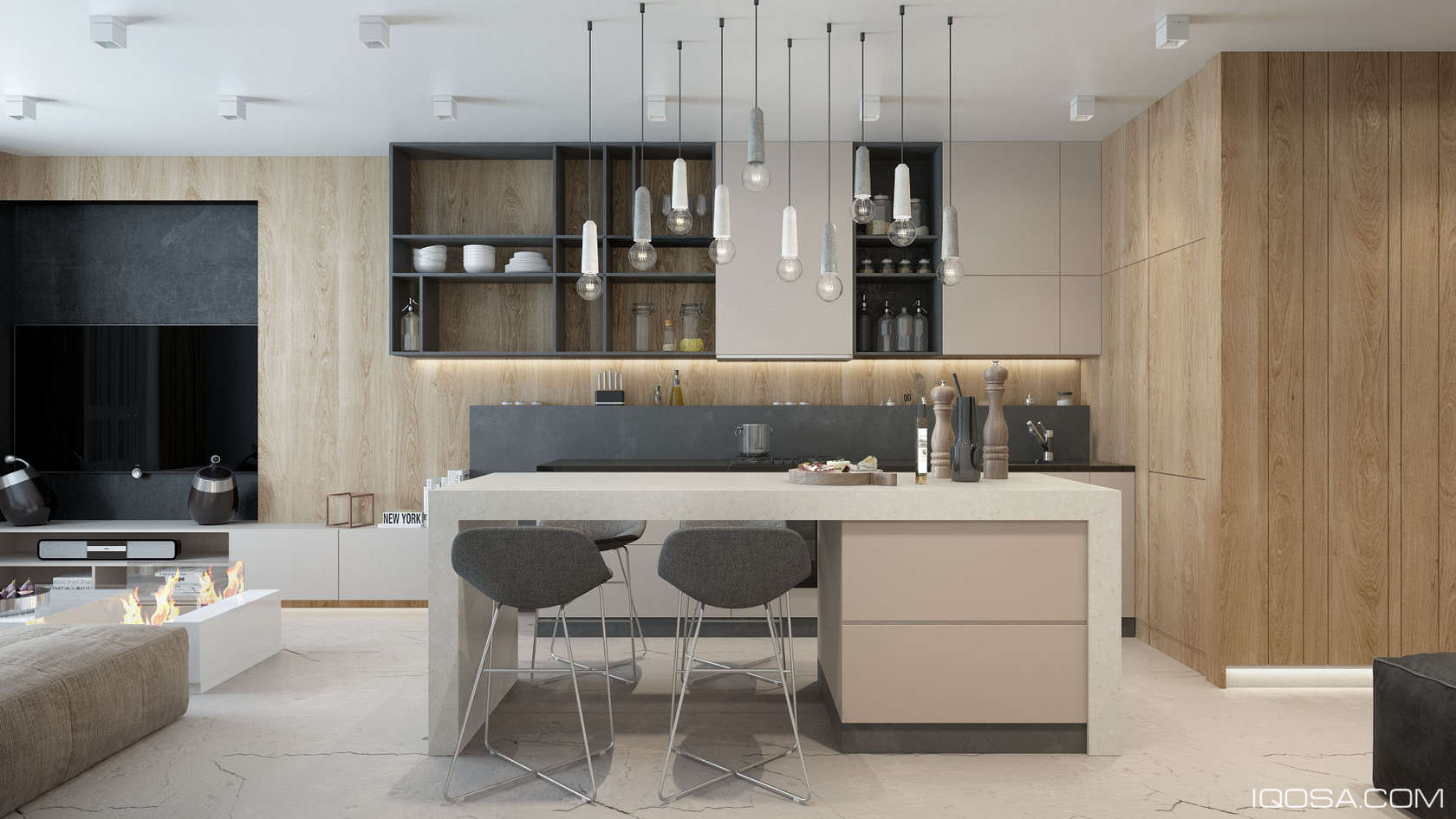 Luxury small studio apartment design combined modern and for Designer apartment kitchens