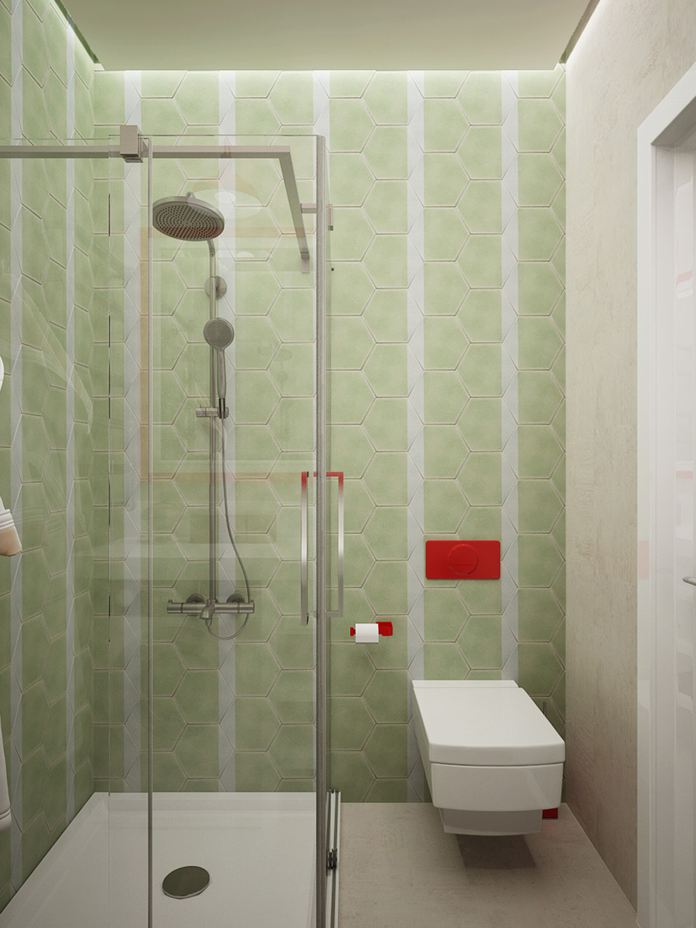 green tile bathroom design