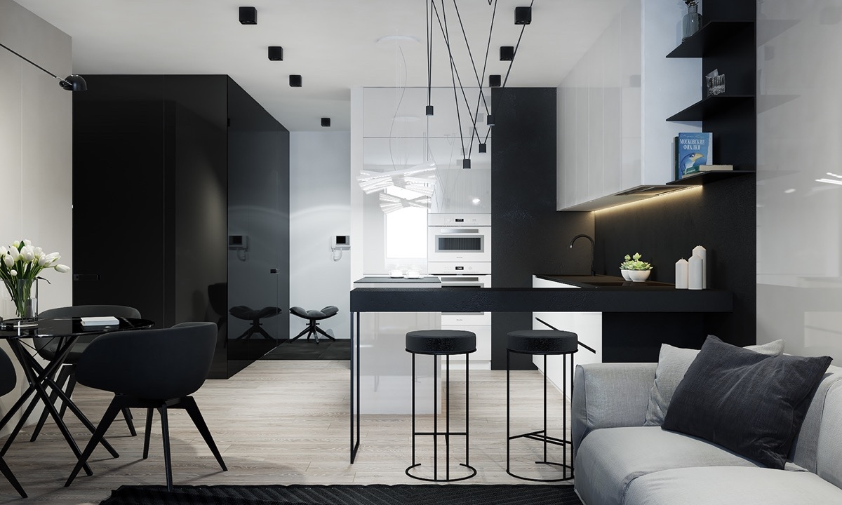 luxury dark kitchen and dining