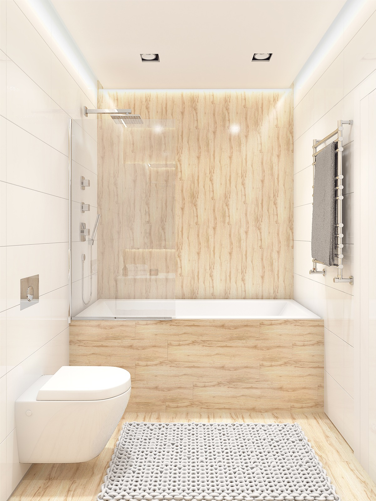 white wooden bathroom backsplash