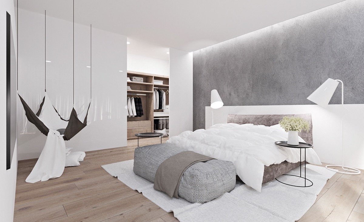 white gray bedroom design