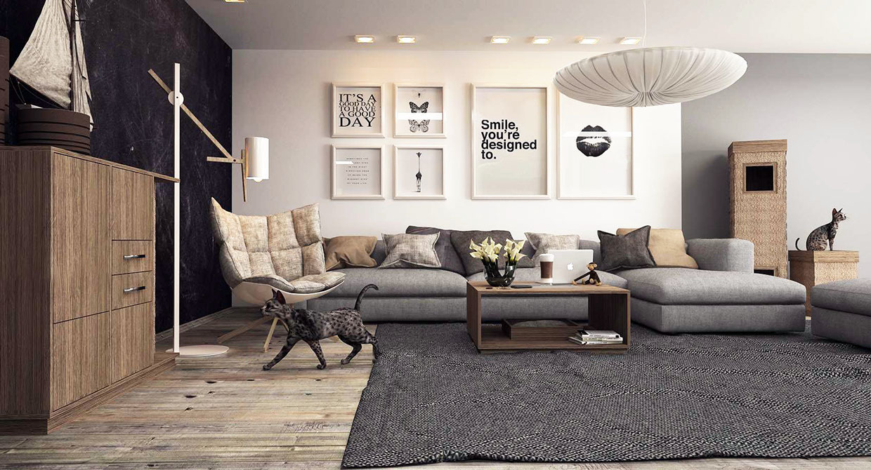 contemporary gray living room
