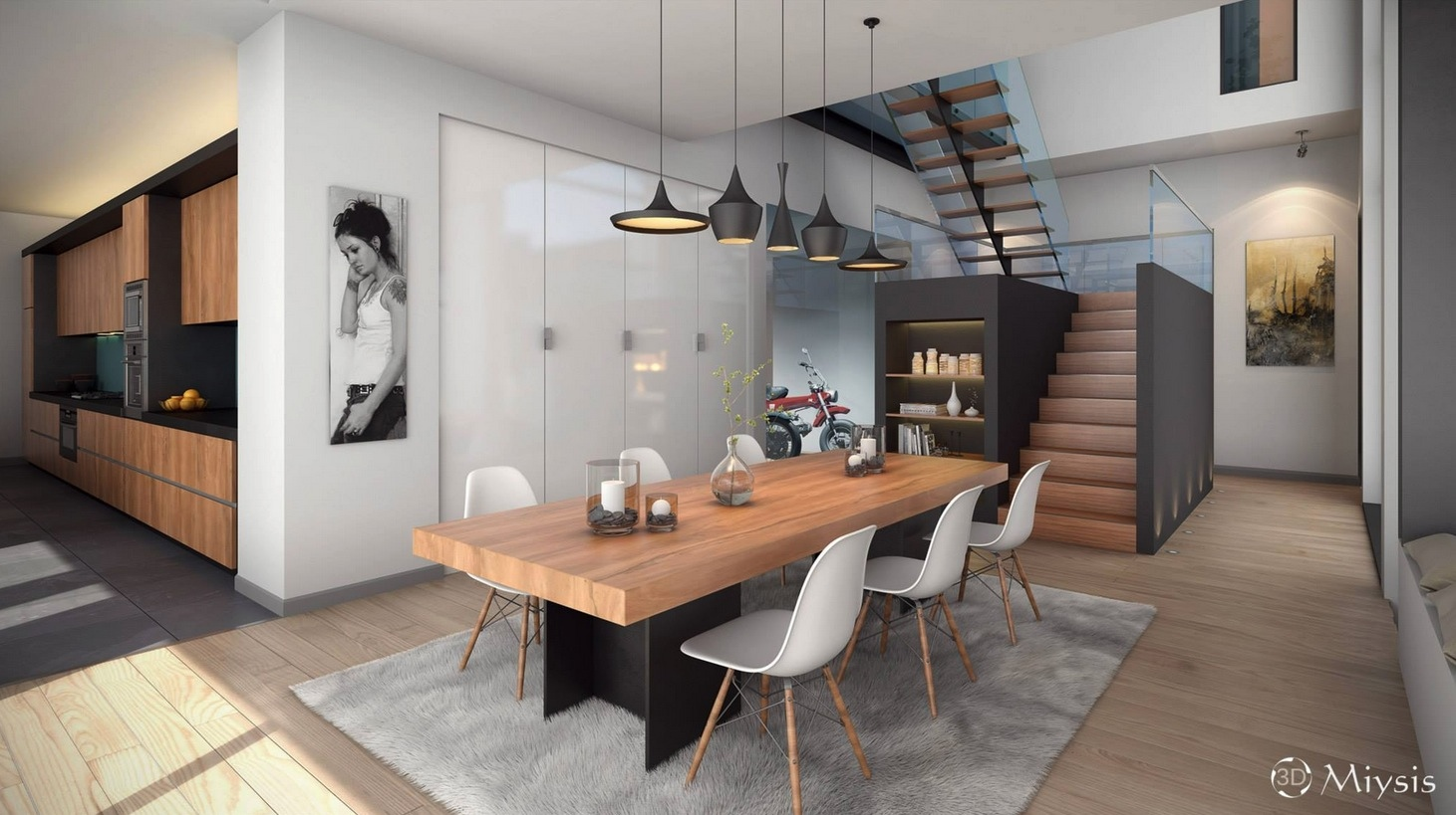 minimalist wooden dining room decor