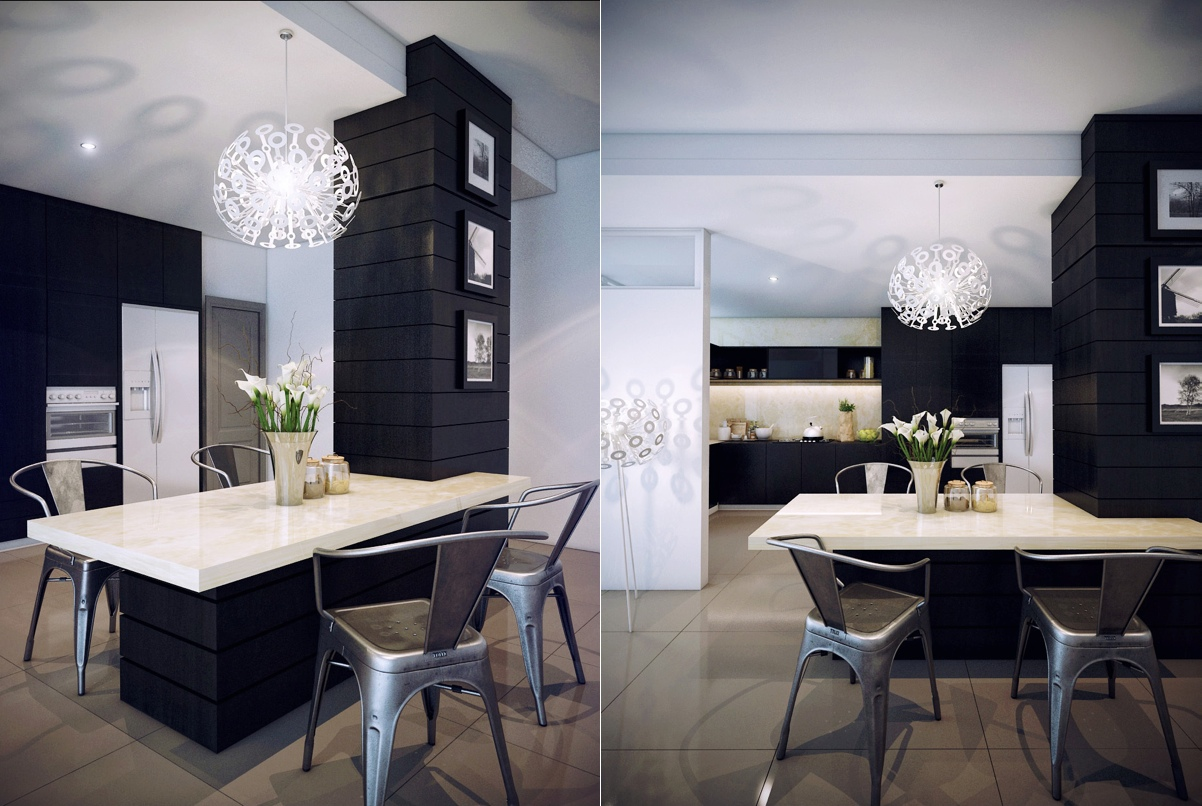 dark and small dining room design