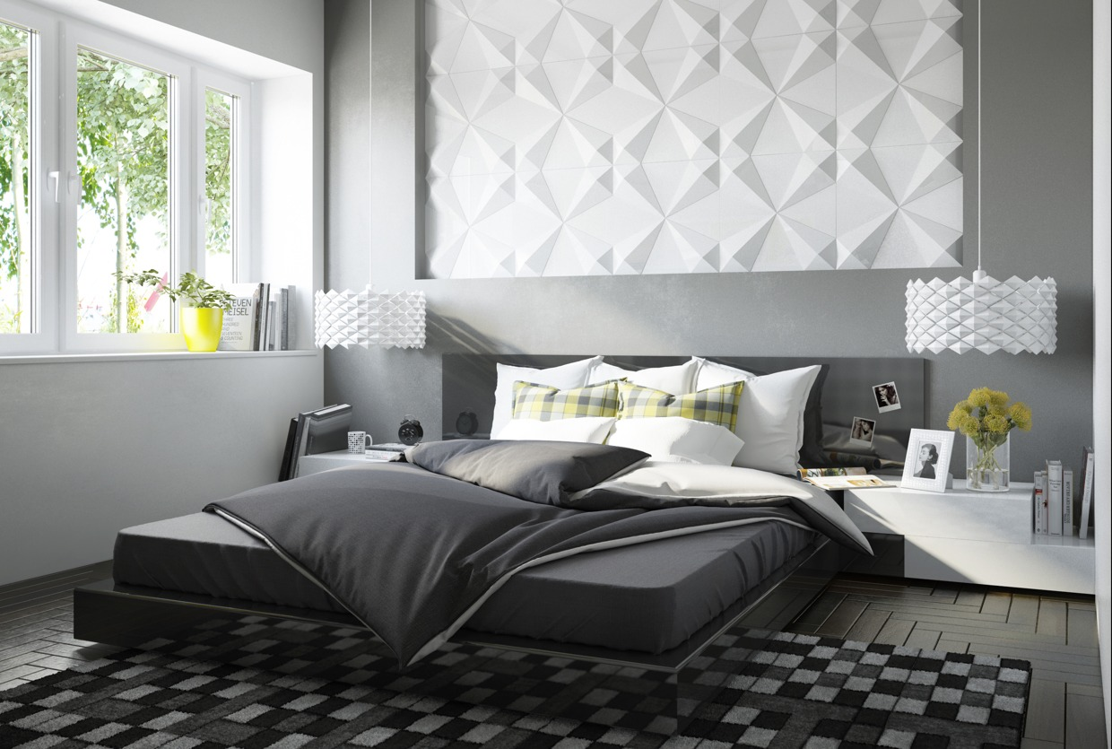 cute backsplash bedroom design