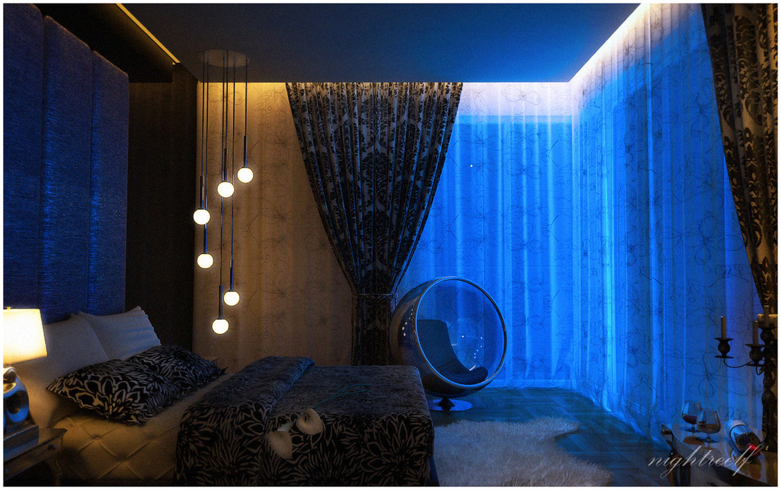 dark interior bedroom design
