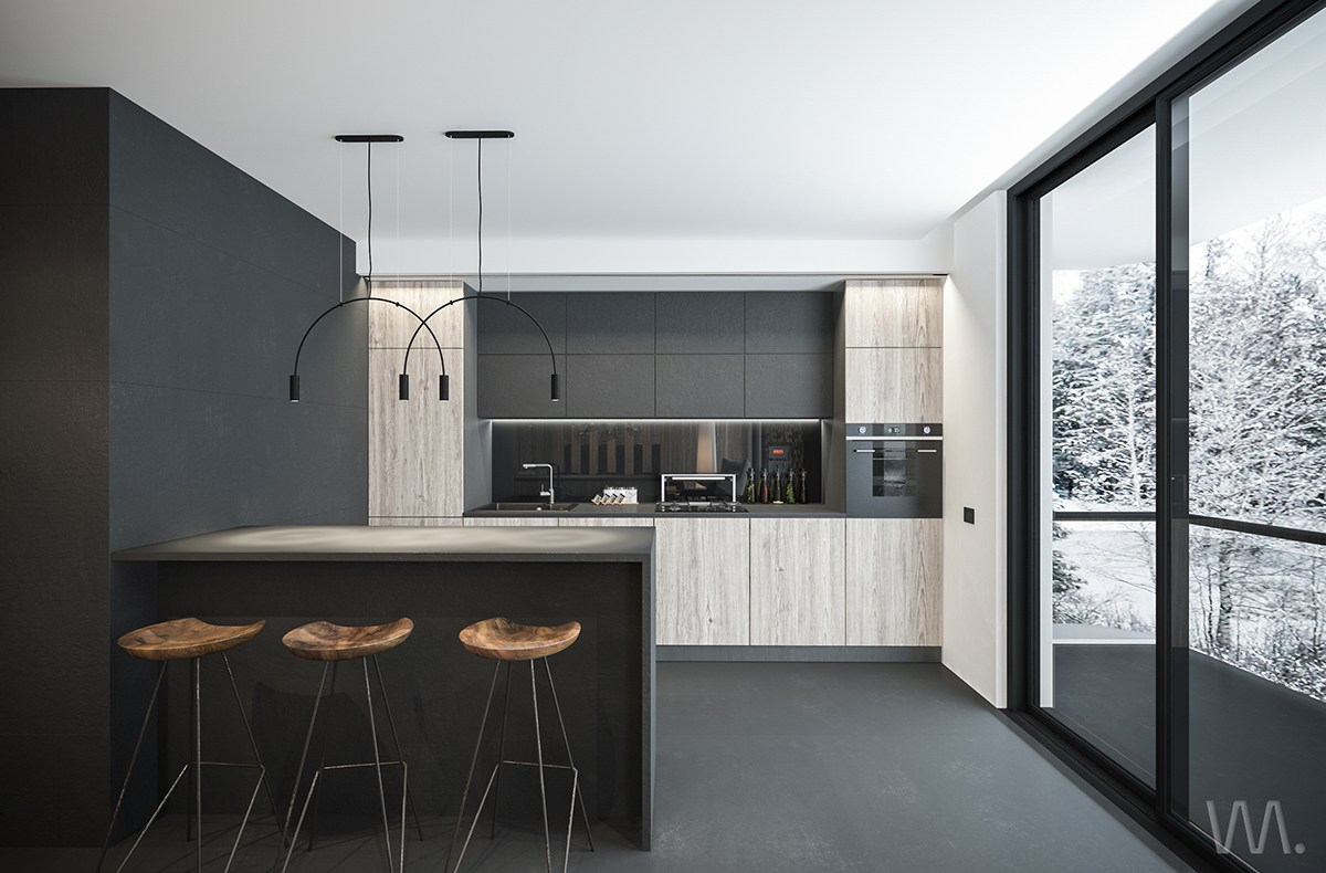 gray minimalist kitchen