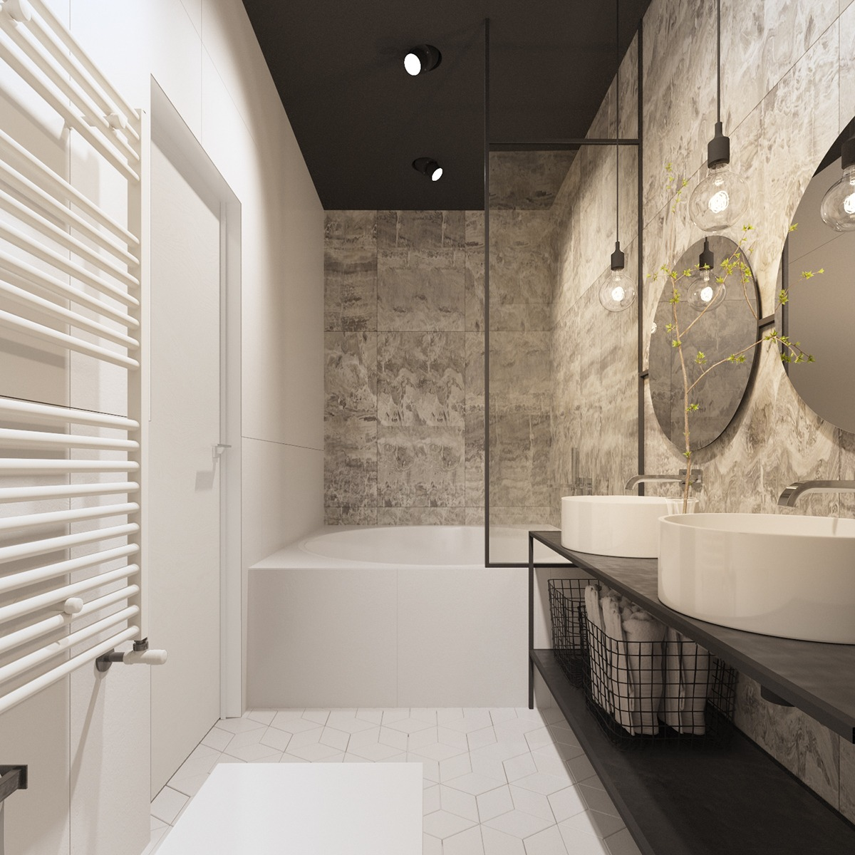 awesome white tile bathroom decor