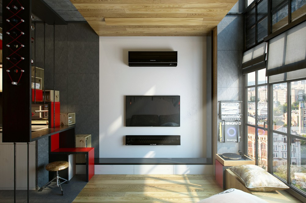 small wooden living room design